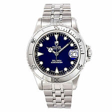 TUDOR PRINCE DATE SUBMARINER 75190 MENS AUTOMATIC WATCH BLUE DIAL SS 36MM
