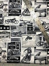 Motorcycles Born To Ride Cotton Fabric 1/2 Yard (18 By 44�) New