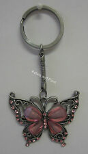 Pink Butterfly Key Ring Keyring Pink & Silver Tone With Sparkling Diamontes New!