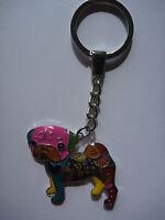 Porte-clés chien multicolore Carlin