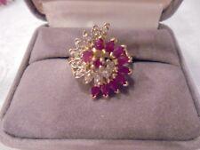 10 KT  DIAMOND RUBY SWIRL DESIGN   RING  Sz 7