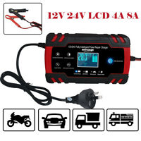 12V/24V Smart Car AU Battery Charger Touch LCD Boat Caravan Truck Battery Repair