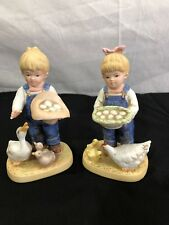 "Denim Days Home Interiors 1985 ""Gathering Eggs"" #1509, Danny & Debbie, Homco"