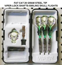 Fat Cat Darts 20 gm Steel Tip Dart Set-Viper Lock Shafts-Smiling Skull Flights