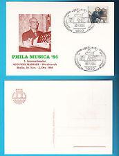 CARTOLINA CIRCOLO RIMINI 1984 SPECIALE BERLIN PHILA MUSICA '84 MASSARI E BRAHMS