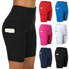 Womens High Waist Yoga Shorts Pocket Gym Cycling Biker Hot Pants Sports Leggings