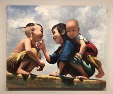 """David Cheng Signed Oil Painting Hong Kong 1965 24"""" X 19"""""""