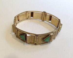 ANTIQUE OLD HAND MADE LADY BRACELET BANGLE GOLD PLATE NEPHRITIS JADE GREENSTONE