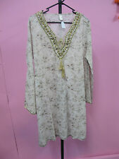 Cream & gold cotton kurta kaftan top Gold sequin trim summer beach resort gypsy