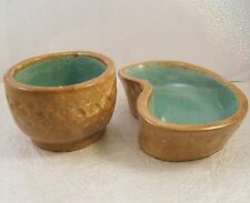 UND School of Mines Pottery Dresser set Mrs.Campbell Pin Tray & Cufflink Cup