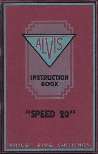 """ALVIS """"SPEED 20"""" ORIGINAL INSTRUCTION BOOK."""