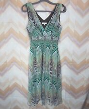 00cce5edc616 DRESSBARN Sz 8 Green Brown V-neck Wrap Sleeveless Asymmetrical hem Chiffon  Dress