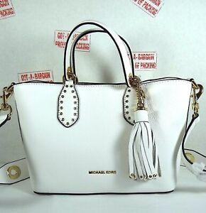 Michael Kors Brooklyn Optic White Pebbled Leather Small Crossbody Grab Bag