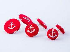 Stoffohrstecker Ohrstecker Stoff Motiv Anker rot weiß Ohrring Küste maritim