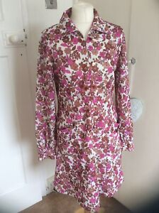 VINTAGE 60'S HANDMADE PINK FLORAL ZIP FRONT POINTED COLLAR DRESS SIZE 10-12