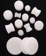 """1 Pair 1/2"""" Organic White Quartz Stone Solid Saddle Plugs Ear Zero Gauge 12mm"""