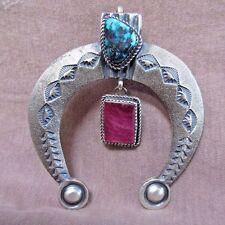 Native Navajo Tufa Cast Sterling, Turquoise & Spiny Oyster Naja Pendant   JP0136