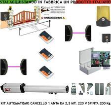 CANCELLO AUTOMATICO 1 ANTA 2,5 MT MOTORE 220 V CED 3 RADIOC 2 FOTOC 2 SELET LAMP
