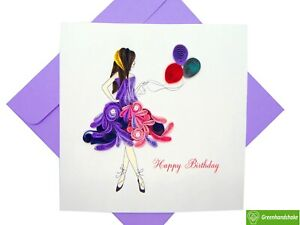 Birthday Girl Quilling Greeting Card - Unique Dedicated Handmade Art