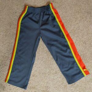 Puma Kids 5  Gray with yellow & Orange stripes Athletic Track Warm Up Pants