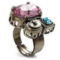 Bold Multicoloured Crystal Cluster Cocktail Ring