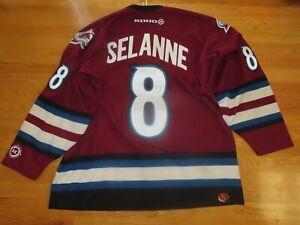Vintage Koho TEEMU SELANNE No. 8 COLORADO AVALANCHE (XL) Hockey Jersey w/ Ties