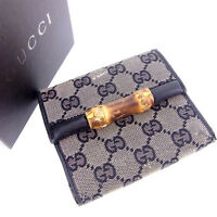 Gucci Wallet Purse Trifold Bamboo Black Woman Authentic Used Y110
