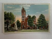 St. James M.E. Church and Soldiers Monument Augusta Georgia Postcard Vintage