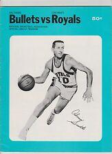 1966/67 BALTIMORE BULLETS VS CINCINNATI ROYALS NBA PROGRAM ADRIAN SMITH COVER