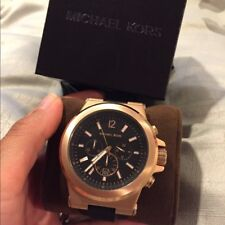 Michael Kors Dylan Black Rubber Rosegold Chronograph Watch