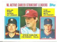 (5) 1985 TOPPS NOLAN RYAN , STEVE CARLTON & TOM SEAVER STRIKEOUT LEADERS