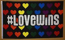 #Lovewins Flag 3'X5' Banner Rainbow Hearts Lgbt Support Love Wins Pride