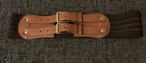 Dorothy Perkins Wide Brown Elasticated Belt Size Medium