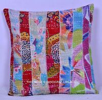 "16"" KANTHA MULTI FLORAL PATCHWORK CUSHION COVER COTTON THROW INDIAN BOHO DECOR"