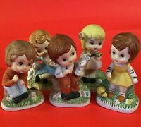 PORCELAIN BISQUE CHILDREN FIGURINES WITH ANIMALS VINTAGE LOT OF 5 BOYS AND GIRLS