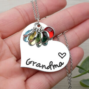 Personalized Name Necklace With Birthstone Heart Necklace Gift For Mom Grandma