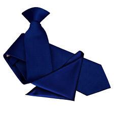 DQT Woven Plaids Solid Check Formal Mens Slim Clip on Tie Handkerchief Set Royal Blue