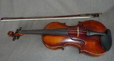 alte sehr interessante Geige old Violine 4/4 alter Zettel, Bogen und Koffer