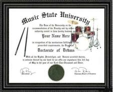 Drum Lover's Doctorate Diploma / Degree Custom made & Designed for you UNIQUE