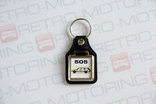 Peugeot 505 Estate Keyring - Leatherette & Chrome Retro Classic Car Auto Keytag