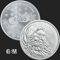 2020 - Merry Christmas Santa 1 oz .999 FINE Silver USA Made BU Round - IN STOCK!