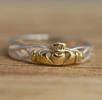 Solid 925 Sterling Silver and Gold Vermeil Celtic Band Ring J-T Sizes Claddagh