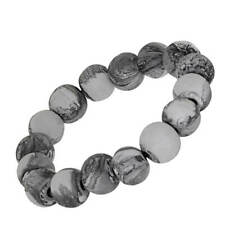 Fashion Jewellery: Stretch Wooden Bead Bracelet with Swirly Grey and White Fi...