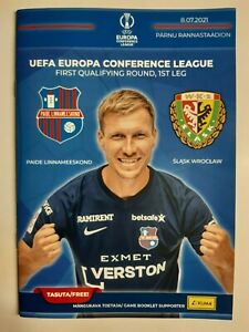 Programme + staff ticket Conference League 2021 Paide LM - Slask Wroclaw Poland