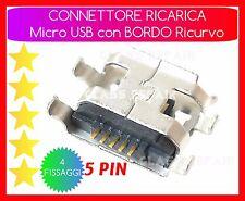 CONNETTORE RICARICA Micro USB 5 -PIN 4 FISSAGGI Verticali TABLET SMARTPHONE