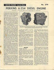 Perkins 6-354 Diesel Engine Motor Trader Service Data No. 379 1961