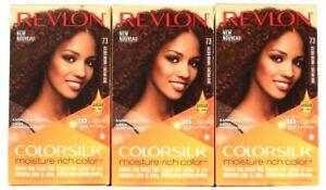 3 Ct Revlon Colorsilk Moisture Rich 73 Golden Brown 3D Color Gel Permanent Dye