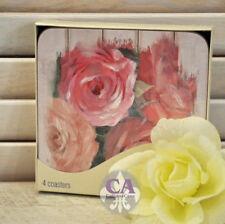#10791 Rosa Rosen Malerei 4er Set Untersetzer Kork Geschenk Hochzeit Deko Tisch