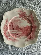 Johnson Bros Old Britian Castles Haddon Hall Pink  Square Salad Plates 7-1/2