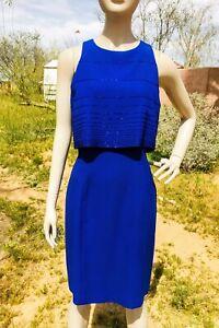 Vintage Rimini Saks Fifth Avenue Royal Blue Beaded Formal Sheath Dress Size 10
